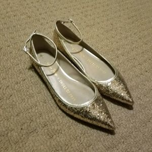 Gold Glitter pointed flats